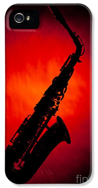 Rock And Roll Photographs Pictures iPhone 5 Cases - Silhouette Photograph of an Alto Saxophone 3357.02 iPhone 5 Case by M K  Miller