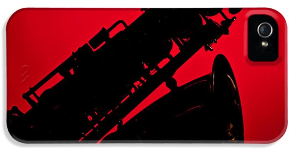 Rock And Roll Photographs Pictures iPhone 5 Cases - Silhouette Saxophone Instrument Bell in Color 3269.02 iPhone 5 Case by M K  Miller