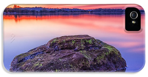 Colour Image iPhone 5 Cases - Single Rock In The Loch iPhone 5 Case by John Farnan