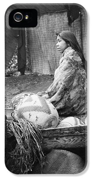 Native American Woman iPhone 5 Cases - Skokomish girl circa 1913 iPhone 5 Case by Aged Pixel