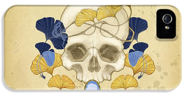 Skulls iPhone 5 Cases - Skull and Ginkgo iPhone 5 Case by Catherine Noel
