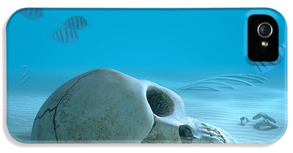 Creepy iPhone 5 Cases - Skull on sandy ocean bottom iPhone 5 Case by Johan Swanepoel
