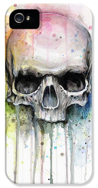 Skulls iPhone 5 Cases - Skull Watercolor Painting iPhone 5 Case by Olga Shvartsur