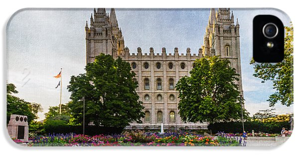 Slc iPhone 5 Cases - SLC Temple Canvas Flower Box iPhone 5 Case by La Rae  Roberts