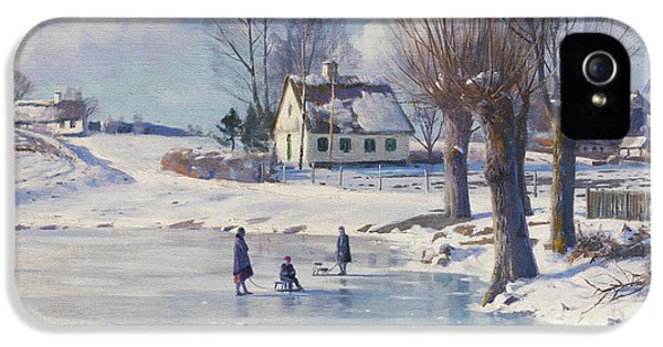 Danish iPhone 5 Cases - Sledging on a Frozen Pond iPhone 5 Case by Peder Monsted