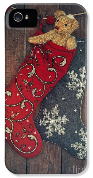 Stockings iPhone 5 Cases - Small teddy bear in stocking for Christmas iPhone 5 Case by Sandra Cunningham