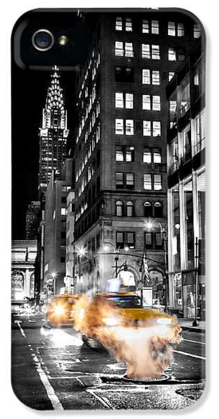Yellow Taxi iPhone 5 Cases - Smoking Streets Of New York  iPhone 5 Case by Az Jackson