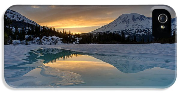 Mount Rainier iPhone 5 Cases - Snowbound Rainier Sunset Lake Reflection iPhone 5 Case by Mike Reid