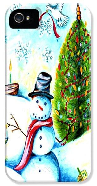 Hanukkah Card iPhone 5 Cases - Snowman Holiday Card iPhone 5 Case by Carol R Montoya