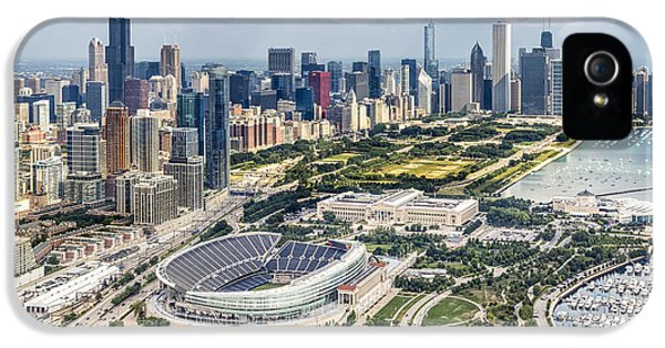 Lake Michigan iPhone 5 Cases - Soldier Field and Chicago Skyline iPhone 5 Case by Adam Romanowicz