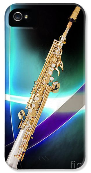 Rock And Roll Photographs Pictures iPhone 5 Cases - Soprano Saxophone Music Photograph in Color 3338.02 iPhone 5 Case by M K  Miller