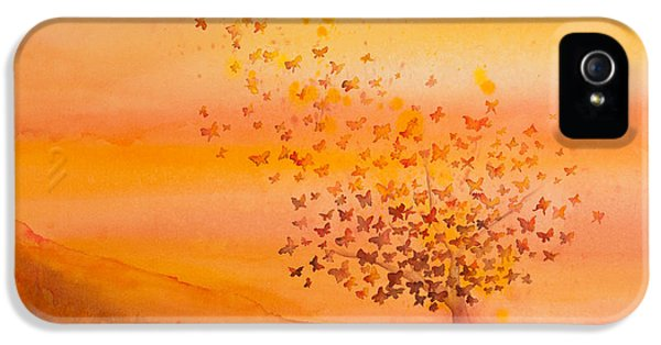 Angel iPhone 5 Cases - Soul Freedom Watercolor Painting iPhone 5 Case by Michelle Wiarda