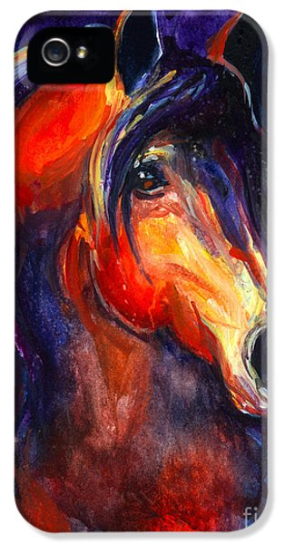 Equine iPhone 5 Cases - Soulful Horse painting iPhone 5 Case by Svetlana Novikova