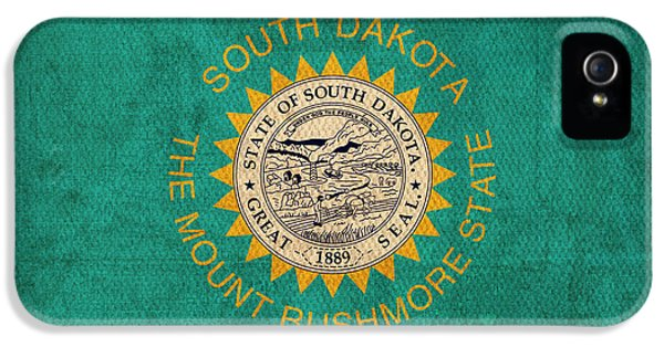 South Dakota State Flag Art On Worn Canvas IPhone 5 / 5s Case by Design Turnpike
