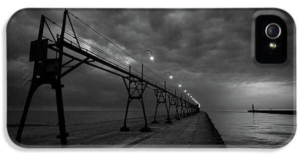 Lighthouse iPhone 5 Cases - South Haven Pier iPhone 5 Case by Sebastian Musial