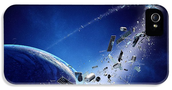 Glowing iPhone 5 Cases - Space junk orbiting earth iPhone 5 Case by Johan Swanepoel