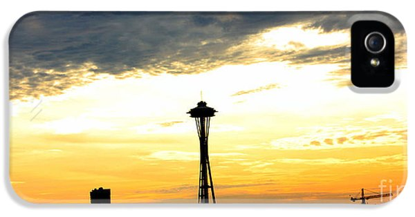 Sillouette iPhone 5 Cases - Space Needle Sunset Sillouette iPhone 5 Case by Nick Gustafson