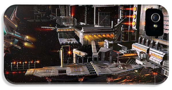Environment Concept Art iPhone 5 Cases - Space Station Landing Bay iPhone 5 Case by Anthony Christou