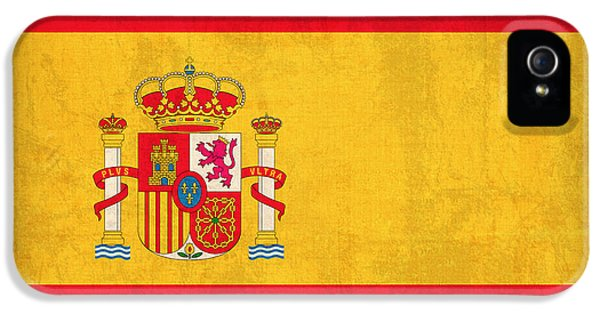 Spain iPhone 5 Cases - Spain Flag Vintage Distressed Finish iPhone 5 Case by Design Turnpike