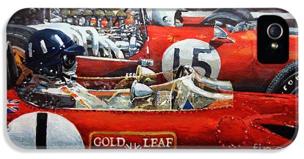 Spain iPhone 5 Cases - Spain GP 1969  Lotus 49 Hill  Ferrari 312 Amon  Lotus 49B Rindt  iPhone 5 Case by Yuriy Shevchuk