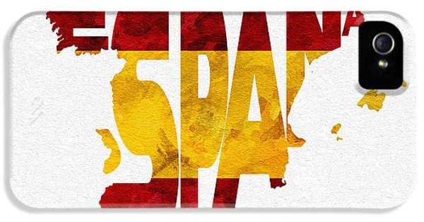 Spain iPhone 5 Cases - Spain Typographic Map Flag iPhone 5 Case by Ayse Deniz