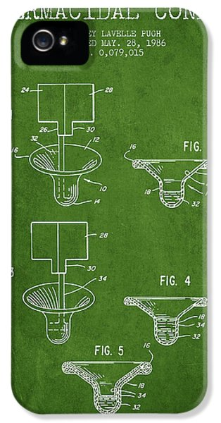 Control iPhone 5 Cases - Spermacidal condom patent from 1986 - Green iPhone 5 Case by Aged Pixel