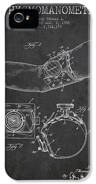 Device iPhone 5 Cases - Sphygmomanometer patent drawing from 1955 - Dark iPhone 5 Case by Aged Pixel