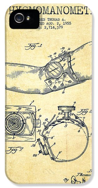Medical iPhone 5 Cases - Sphygmomanometer patent drawing from 1955 - Vintage iPhone 5 Case by Aged Pixel