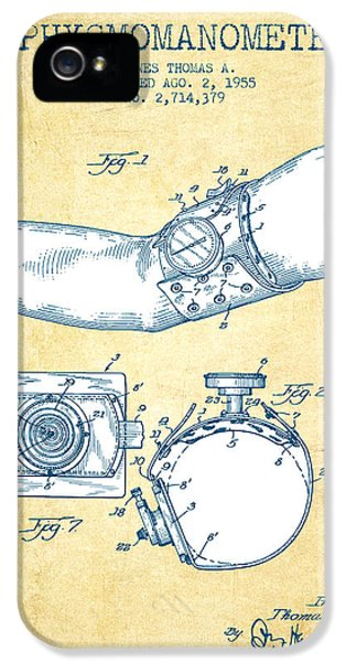 Medical iPhone 5 Cases - Sphygmomanometer patent drawing from 1955 - Vintage Paper iPhone 5 Case by Aged Pixel