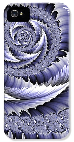 Blue Leaf iPhone 5 Cases - Spiral Leaf Abstract iPhone 5 Case by John Edwards