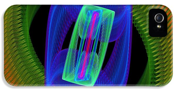 Round iPhone 5 Cases - Spiral Vortex Green And Blue Fractal Flame iPhone 5 Case by Keith Webber Jr