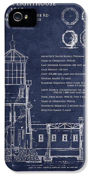 Blueprint iPhone 5 Cases - Split Rock Lighthouse blueprint art print iPhone 5 Case by Sara Harris