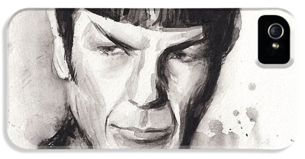 Sci Fi Art iPhone 5 Cases - Spock Portrait Watercolor Star Trek Fan Art iPhone 5 Case by Olga Shvartsur