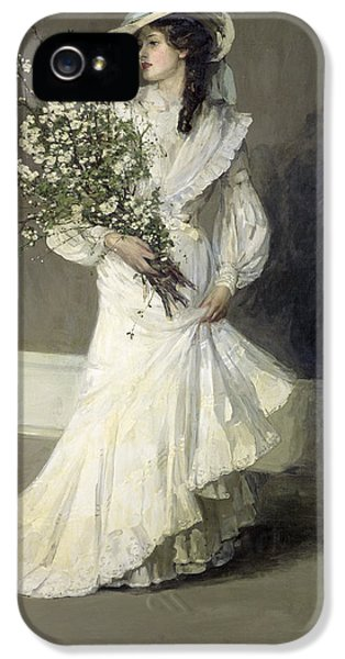 Bouquet iPhone 5 Cases - Spring Oil On Canvas iPhone 5 Case by Sir John Lavery