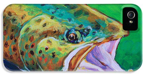 Fish iPhone 5 Cases - Spring Time Brown Trout- Fly Fishing Art iPhone 5 Case by Mike Savlen