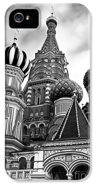 Moscow iPhone 5 Cases - St Basils Cathedral in Moscow Russia Black and white iPhone 5 Case by Oleksiy Maksymenko