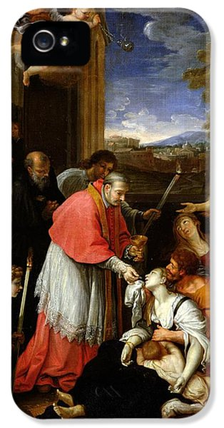 Diseased iPhone 5 Cases - St. Charles Borromeo 1538-84 Administering The Sacrament To Plague Victims In Milan In 1576 Oil iPhone 5 Case by Pierre Mignard