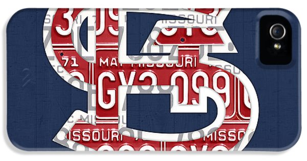 Drive iPhone 5 Cases - St. Louis Cardinals Baseball Vintage Logo License Plate Art iPhone 5 Case by Design Turnpike
