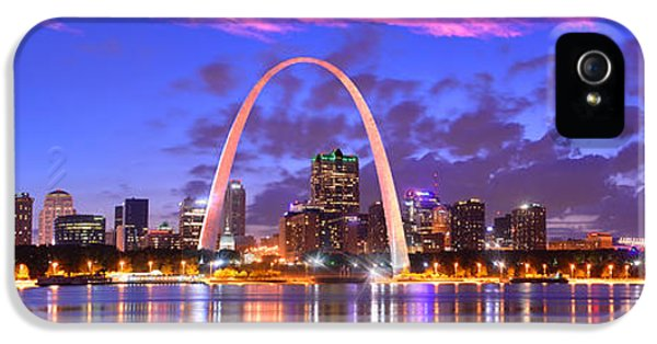 City Scene iPhone 5 Cases - St. Louis Skyline at Dusk Gateway Arch Color Panorama Missouri iPhone 5 Case by Jon Holiday