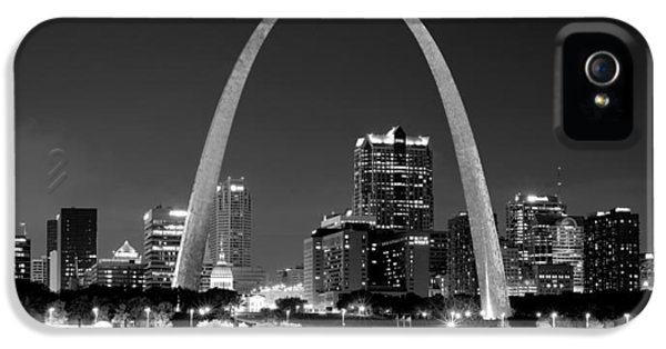 City Scene iPhone 5 Cases - St. Louis Skyline at Night Gateway Arch Black and White BW Panorama Missouri iPhone 5 Case by Jon Holiday