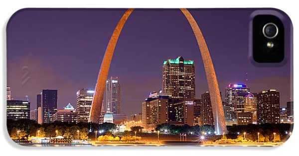 City Scene iPhone 5 Cases - St. Louis Skyline at Night Gateway Arch Color Panorama Missouri iPhone 5 Case by Jon Holiday