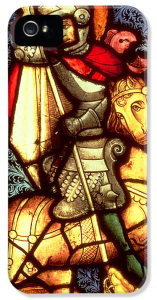 Stained iPhone 5 Cases - Stained Glass Window Depicting Saint George iPhone 5 Case by German School