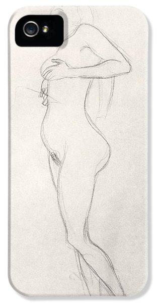Nudity iPhone 5 Cases - Standing Nude Girl Looking Up iPhone 5 Case by Gustav Klimt