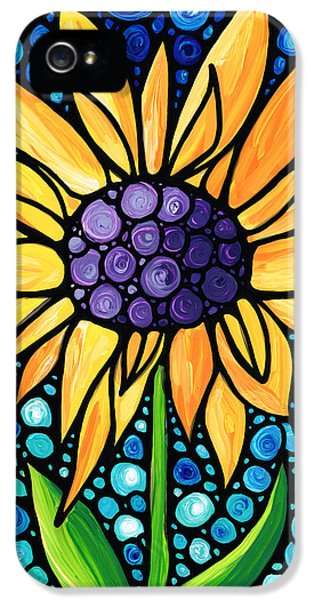 Whimsy iPhone 5 Cases - Standing Tall - Sunflower Art By Sharon Cummings iPhone 5 Case by Sharon Cummings