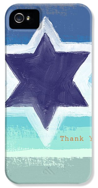 Bar iPhone 5 Cases - Star of David in Blue - Thank You Card iPhone 5 Case by Linda Woods