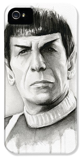 Sci Fi Art iPhone 5 Cases - Star Trek Spock Portrait iPhone 5 Case by Olga Shvartsur