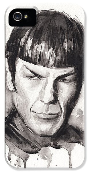 Sci Fi Art iPhone 5 Cases - Star Trek Spock Portrait Sci-Fi Art iPhone 5 Case by Olga Shvartsur