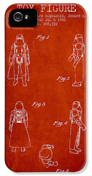 Yoda iPhone 5 Cases - Star Wars Darth Vader patent from 1982 - Red iPhone 5 Case by Aged Pixel