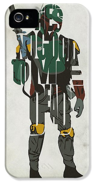 Character iPhone 5 Cases - Star Wars Inspired Boba Fett Typography Artwork iPhone 5 Case by Ayse Deniz