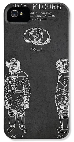 Yoda iPhone 5 Cases - Star Wars Toy Figure no3 patent drawing from 1985 - Charcoal iPhone 5 Case by Aged Pixel